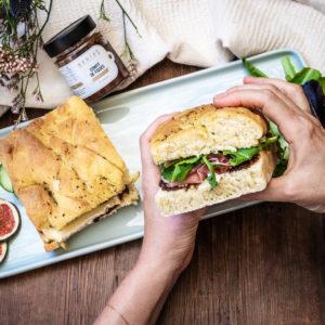 Sandwich de foccacia confit figues